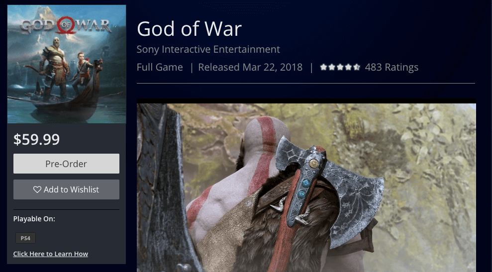 god of war ps4 release date