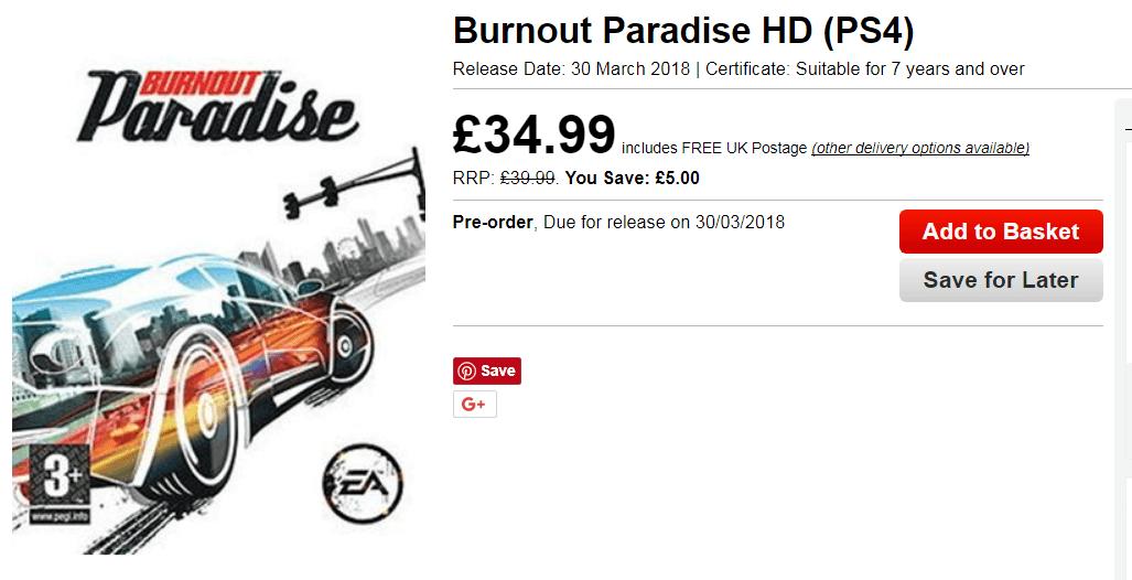 burnout paradise hd ps4 release date