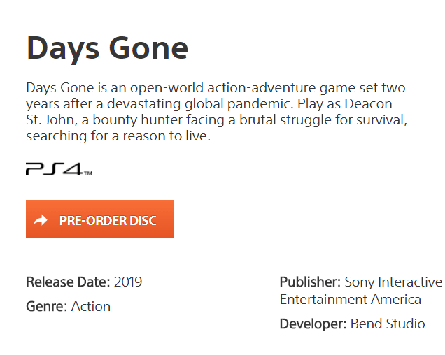 days gone ps4 release 2019