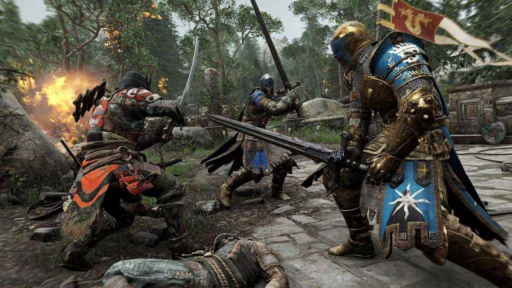 Opposing warriors face off on the For Honor battlefield