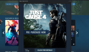 The Just Cause 4 ad as seen on Steam last night