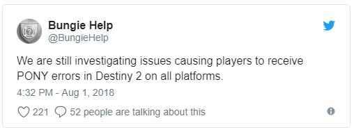 Destiny 2 Error Code Pony How To Fix Update Playstation Universe