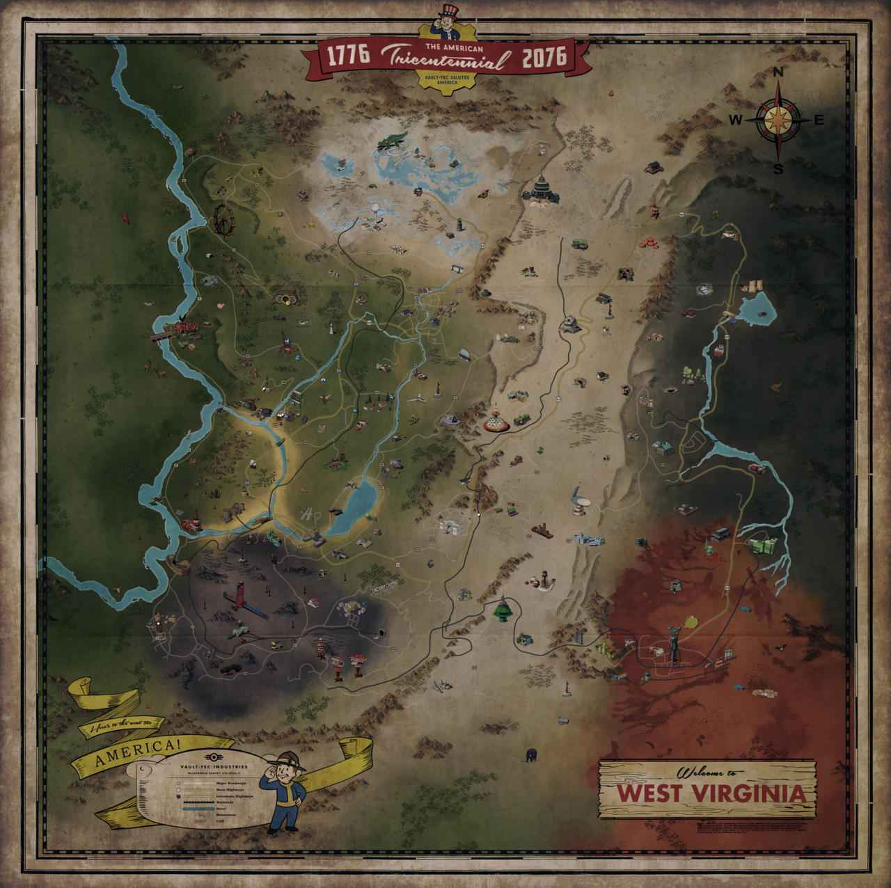 The entire map of Fallout 76 has been unveiled.