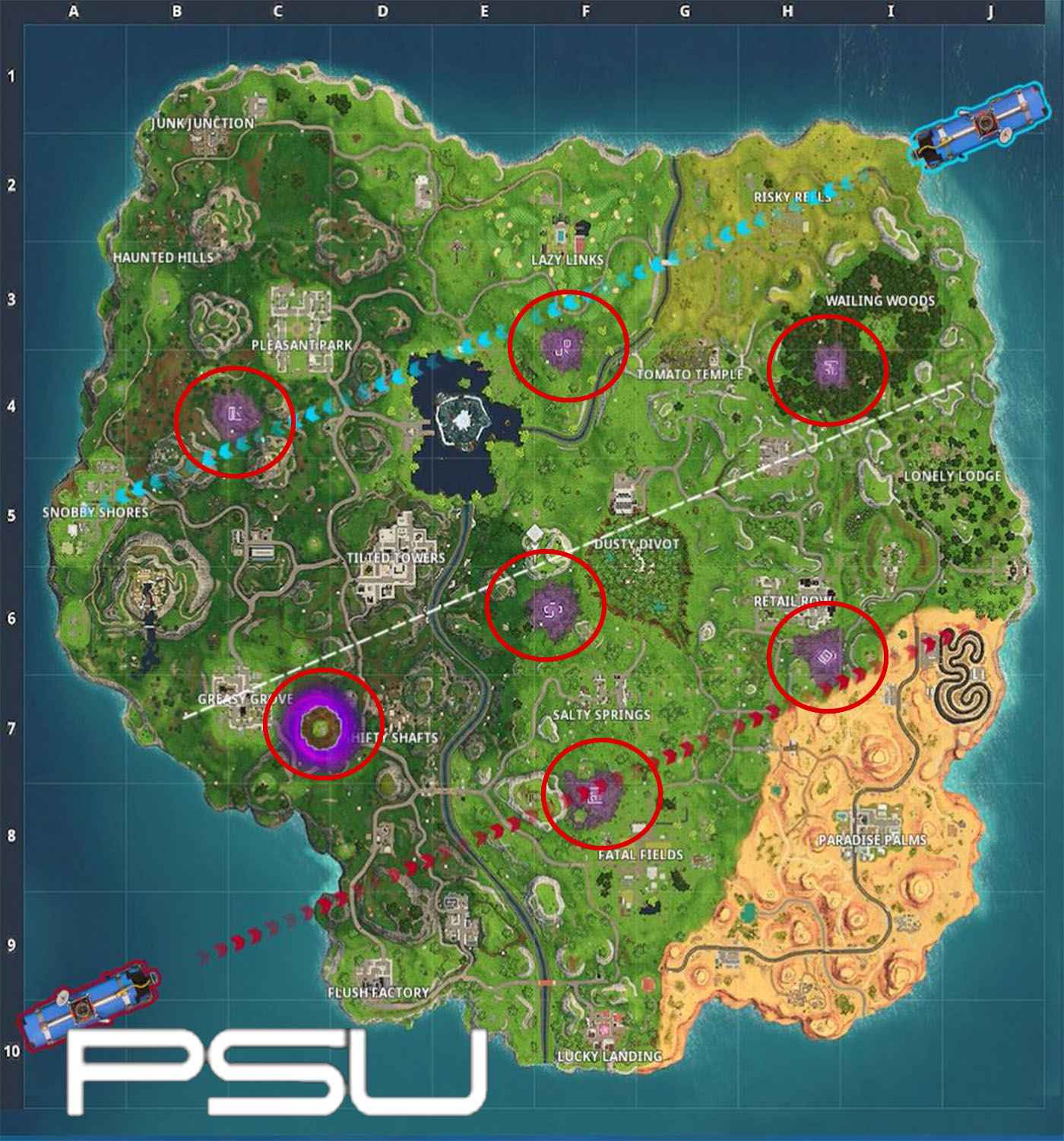 Fortnite's Week 2 challenges - A map of all the corrupted zones.