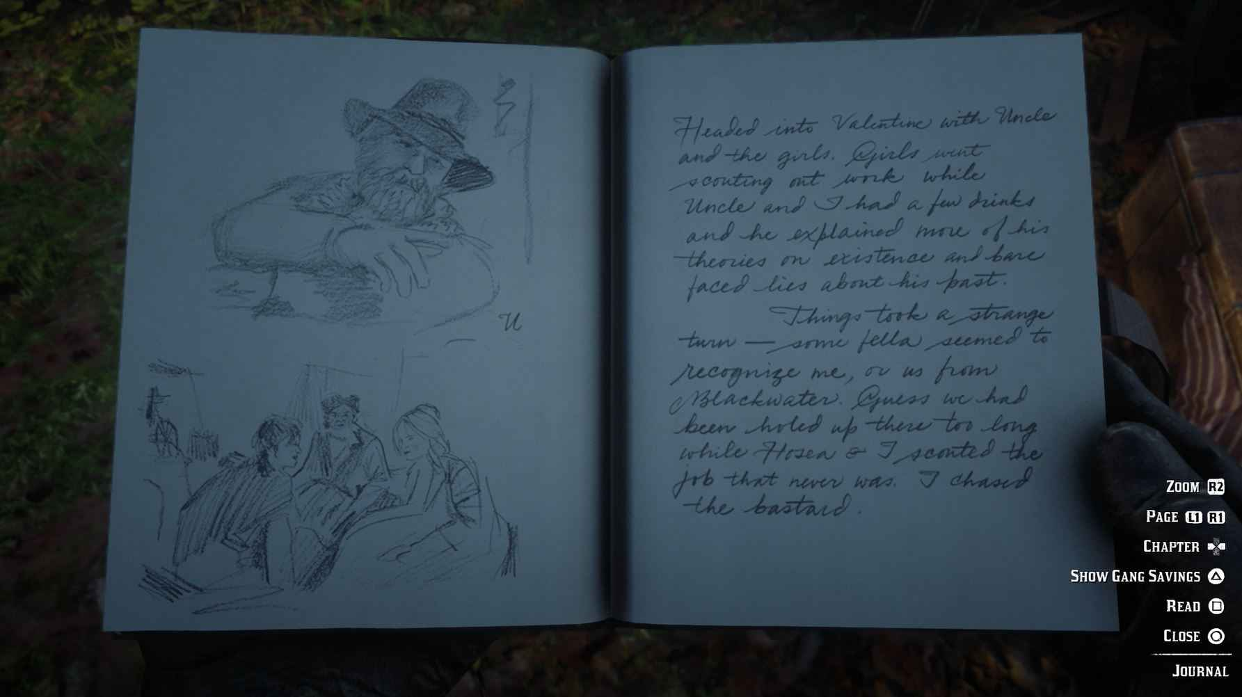 Story missions are recapped in Arthur's Journal.