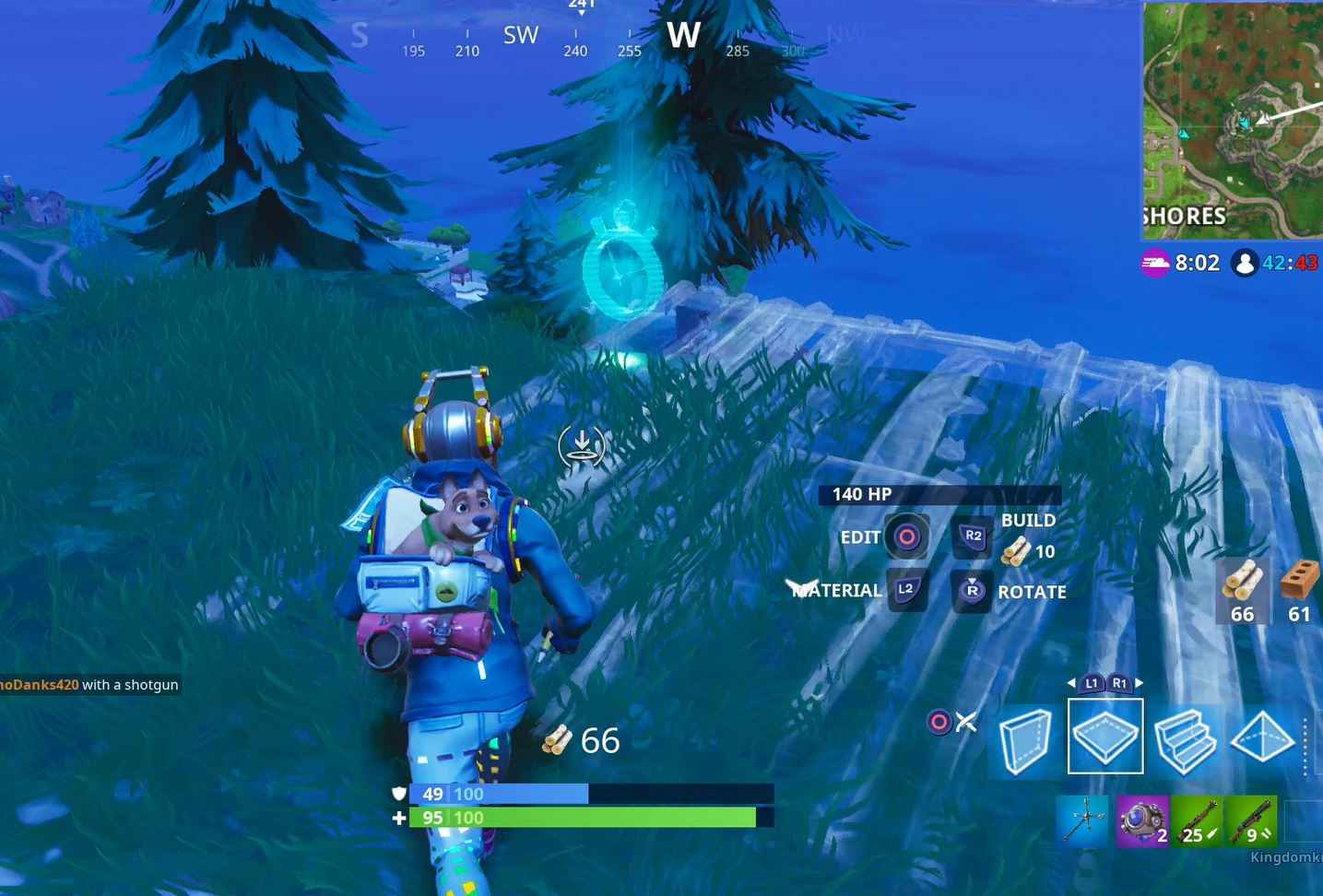 Fortnite Time Trials: Interact with the stopwatch to start them.