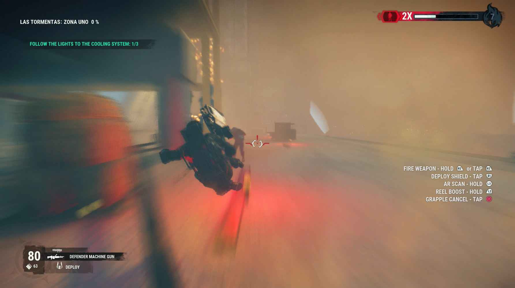 Just Cause 4 Review - Grappling to an enemy amidst a sandstorm.