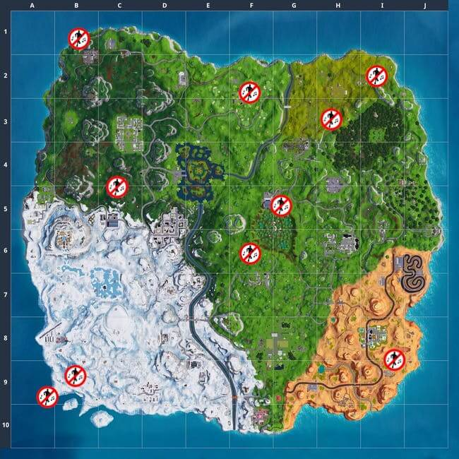 fortnite forbidden dance locations map