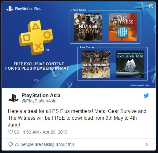 free games ps plus may 2019