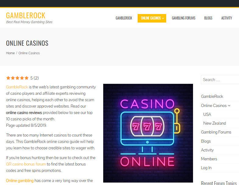 gamblerock online casinos
