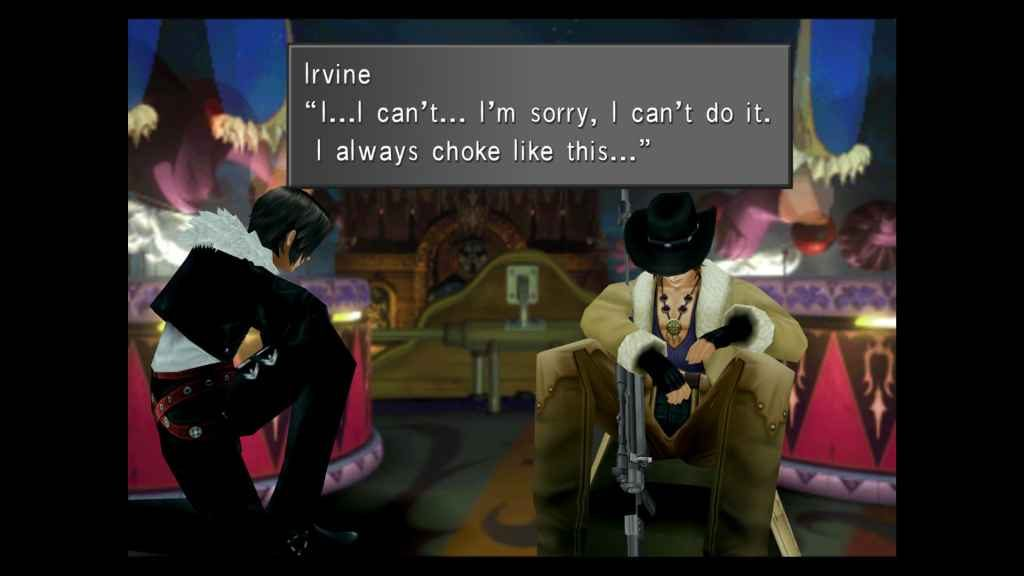 Squall reassures his friend, Irvine
