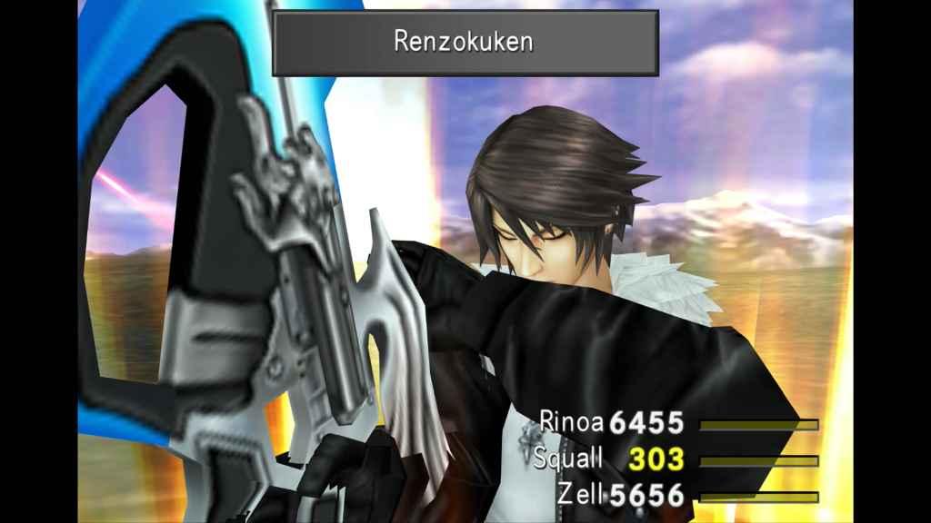 Squall performs his Renzokuken limit break