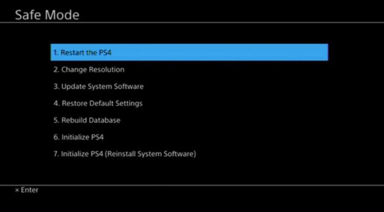 Database Is Corrupted Restart PS4