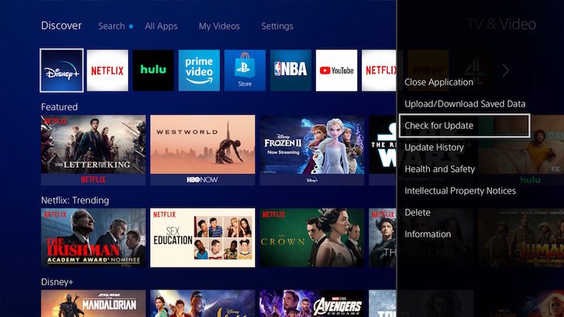 how to update disney plus app on ps4 new