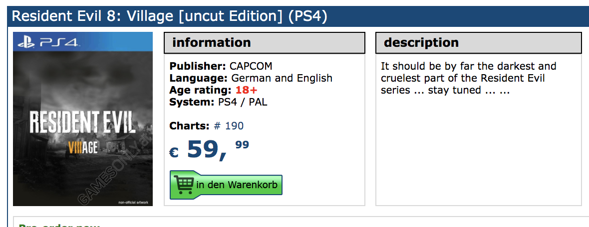 Resident Evil 8 Village Uncut Edition Listed For Ps4 On German