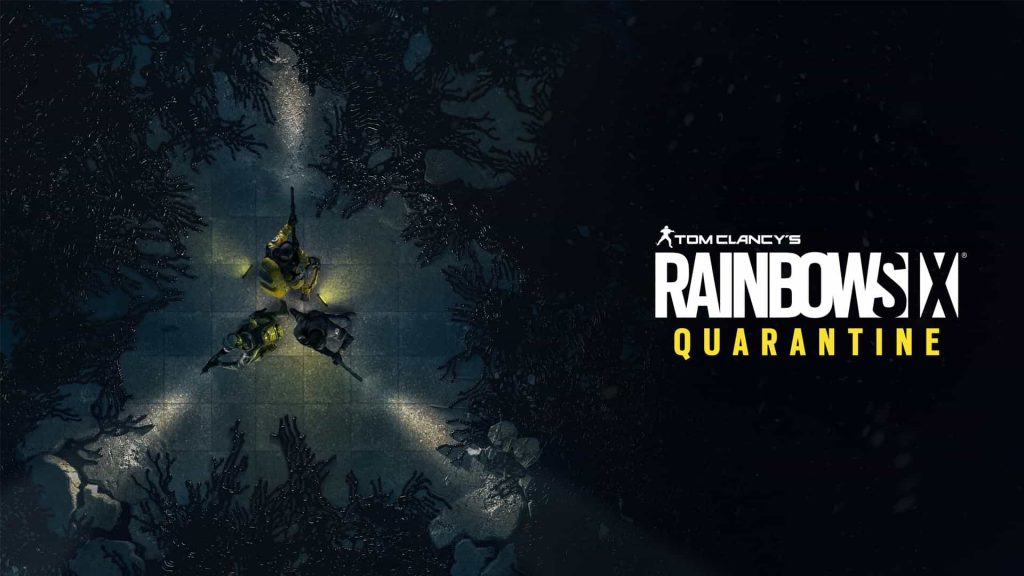 Three soldiers stand in a circle with guns, fighting off an incoming infection. The Rainbow Six Quarantine logo is also here.