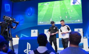Professional gamers playing FIFA 18